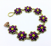 Daisy SuperDuo Beadwork Bracelet Kit with SWAROVSKI® ELEMENTS - Violet and Zest - Beginner